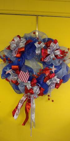 Patriotic Wreath Hanging Wreath in San Antonio, TX | FLOWERS BY GRACE