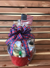 Patriotism Rewarded  Gourmet and Pamper Basket Combo