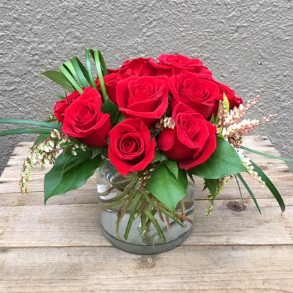 Pave Dozen Red Roses