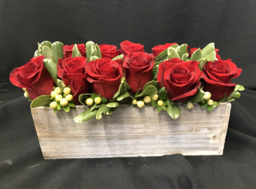 Pave' Wood box Rose Arrangement