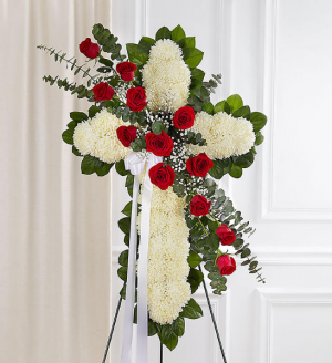 Peace and Blessings Sympathy Cross Funeral Flowers in Sunrise, FL | FLORIST24HRS.COM