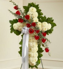 Peace and Prayers Standing Cross - Red sympathy flowers