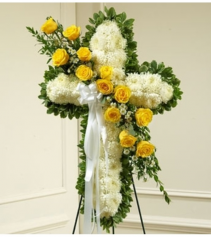 Peace and Prayers Standing Cross - Yellow Sympathy Arrangement