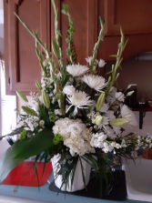 peace in white basket of white flowers