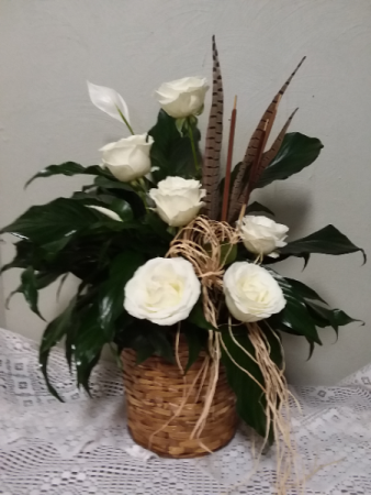 Peace Lily Plant with Roses