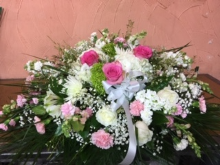 Peace of Pink and White Casket Spray