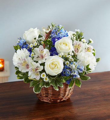 Peace, Prayer & Blessing - Blue & White Sympathy Arrangements
