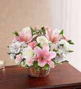 Peace, Prayer & Blessing - Pink & White Sympathy Arrangements