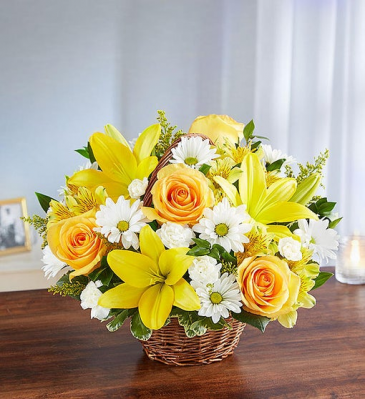 Peace, Prayer & Blessing - Yellow & White Sympathy Arrangements