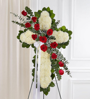 Peace & Prayer Red & White Standing Cross Standing Sprays & Wreaths
