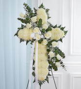 Peace & Prayer White Standing Cross - White Standing Sprays & Wreaths