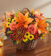 Peace, Prayers, and Blessings Fall Basket Arrangement