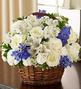 Peace, Prayers & Blessings - Blue and White Flower Basket
