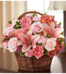 Peace, Prayers & Blessings - All Pink Sympathy Arrangement