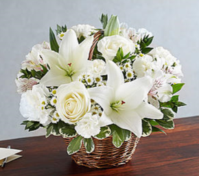 Peace, Prayers & Blessings™ All White Sympathy Arrangement in Croton On Hudson, NY | Cooke's Little Shoppe Of Flowers