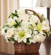 Peace, Prayers, & Blessings- All White basket of flowers