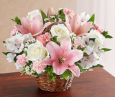 Peace, Prayers & Blessings™ Pink & White Sympathy Arrangement