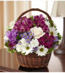 Peace, Prayers & Blessings - Purple & White Sympathy Arrangement