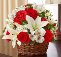 Peace, Prayers & Blessings - Red and White Sympathy Arrangement