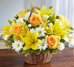 Peace, Prayers & Blessings™ Yellow & White Sympathy Arrangement in Croton On Hudson, NY | Cooke's Little Shoppe Of Flowers