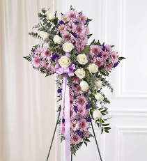 Peace & Prayers™ Standing Cross- Lavender Sympathy Arrangement