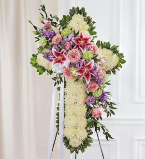 Peace & Prayers™ Standing Cross with Pastel Break Sympathy Arrangement in Croton On Hudson, NY | Cooke's Little Shoppe Of Flowers