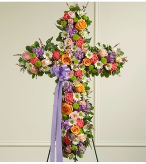 Peace & Prayers Standing Cross - Pastel Sympathy Arrangement in Croton On Hudson, NY | Cooke's Little Shoppe Of Flowers
