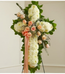 Peace & Prayers Standing Cross - Peach Sympathy Arrangement