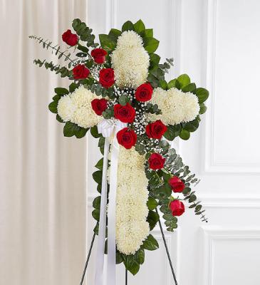 Peace & Prayers™ Standing Cross- Red & White Sympathy Arrangement