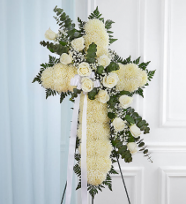 Peace & Prayers™ Standing Cross- White Sympathy Arrangement