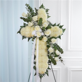 Peace & Prayers Standing Cross-White Sympathy Arrangement