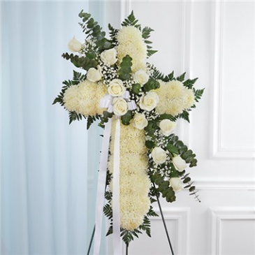 Peace & Prayers Standing Cross-White Sympathy Arrangement