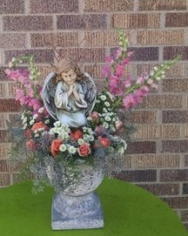 Peaceful Angel Urn Arrangement - AWF16C Angel may vary from photo