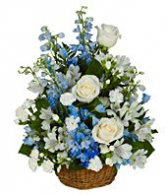 Peaceful Blues Flower Basket