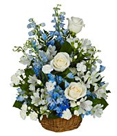 Peaceful Blues Flower Basket in Coleman, WI | COLEMAN FLORAL & GREENHOUSES