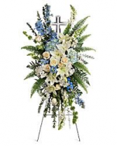 PEACEFUL CROSS SPRAY STANDING FUNERAL PC ON A 5'-6
