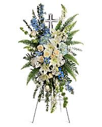 PEACEFUL CRYSTAL CROSS STANDING SPRAY WAS 250.00. NOW $175.00