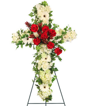 Peaceful Crossover in Red Standing Spray in East Templeton, MA | Valley Florist & Greenhouse