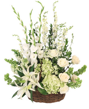 Peaceful Basket Arrangement in Port Dover, ON | Upsy Daisy Floral Studio