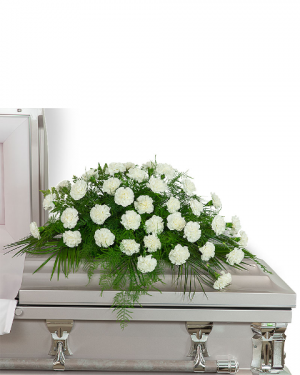 Peaceful in White Casket Spray Sympathy in Nevada, IA | Flower Bed