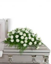 Peaceful in White Casket Spray Sympathy Arrangement