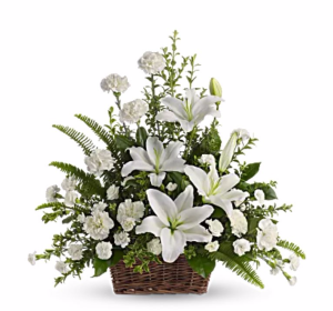 Peaceful Lilies Basket Arrangement in San Bernardino, CA | INLAND BOUQUET FLORIST