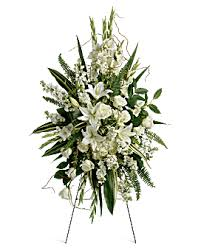 "PEACEFUL MEMORY SPRAY STANDING FUNERAL PC ON A 5'-6"" STAND"
