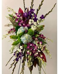 "PEACEFUL ORCHID AND HYDRANGEA SPRAY STANDING FUNERAL PC ON A 5'-6"" STAND"