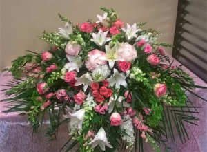 Peaceful Pink Casket Spray in Universal City, TX | Karen's House Of Flowers & Custom Creations