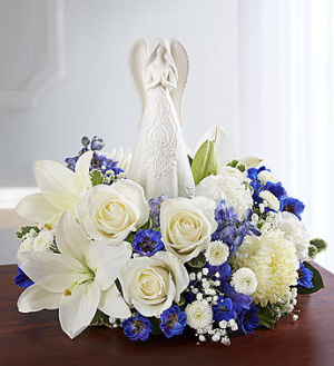 Peaceful Prayer Angel  Blue and White in Oakdale, NY | POSH FLORAL DESIGNS INC.