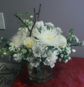 Peaceful remembrance All white vase