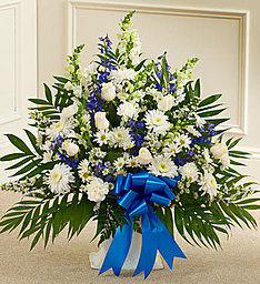 Peaceful White Basket With Blue Bow  in Fair Lawn, NJ | DIETCH'S FLORIST
