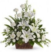 Peaceful White Lilies Basket Floral Arrangement