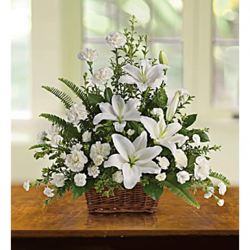 Peaceful White Lilies Basket Fresh Arrangement In a Basket